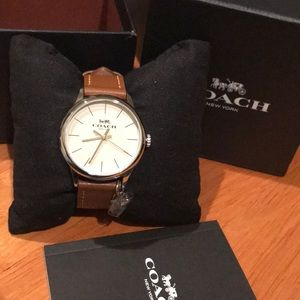 Authentic brand new Leather Coach Watch w/ charm